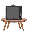table with old tv isolated icon vector image