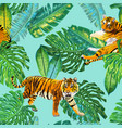 Tigers in tropical palm leaves seamless pattern