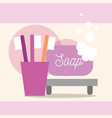 toothbrushes and soap bubbles cartoon bathroom vector image vector image
