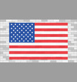 usa flag on grey brick wall vector image