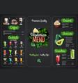 vegetarian menu design with vegan meals vector image