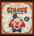 vintage circus poster with clown head vector image