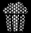 white halftone popcorn bucket icon vector image vector image