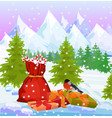 winter mountains nature background with santas bag vector image vector image