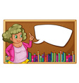 Woman and empty board vector image vector image