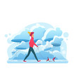 young man walking withg dog in winter park flat vector image