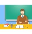 School teacher man at the desk flat education vector image