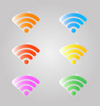 a set of colored signs for a wifi vector image