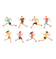 athlete man and woman running energetic people vector image vector image