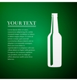 Beer bottle flat icon on green background vector image vector image