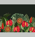 border with anthuriums and tropical leaves vector image vector image