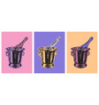 champagne bottle bucket hand drawing vector image vector image