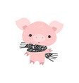 christmas pinky pig with a scarf new year postma vector image vector image
