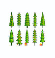 christmas tree icons set outline pines vector image
