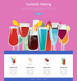 cocktails making manual web page design vector image
