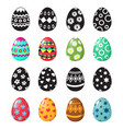 colorful and black and white easter eggs icons vector image vector image