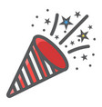 confetti popper filled outline icon new year vector image