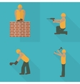 Construction worker flat icon set Design template vector image vector image