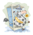 cow in the shower vector image