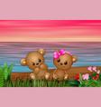 cute couple a teddy bear sitting on seaside vector image vector image