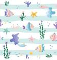 cute sea fish characters cartoon seamless pattern vector image vector image