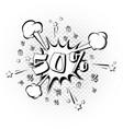 discount 50 percent pop art retro style vector image vector image