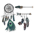 dreamcatcher with ethnic arrow and feathers vector image vector image
