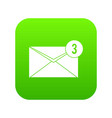 envelope with three messages icon digital green vector image vector image