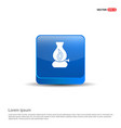 flame fire icon - 3d blue button vector image