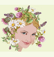 Girl with wild flowers and herbs wreath vector image