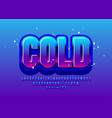glossy emblem cold with blue font modern alphabet vector image vector image