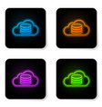 glowing neon cloud database icon isolated on vector image vector image