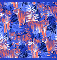 graphic seamless patterns tigers in different vector image vector image