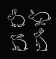 group of hand drawn rabbit on black background vector image vector image