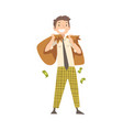 happy wealthy man with money bags lucky vector image vector image