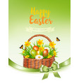 holiday easter getting card with a colorful eggs vector image