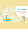 hot summer poster with girl kayaking sitting boat vector image vector image