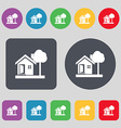 house icon sign A set of 12 colored buttons Flat vector image