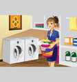 housewife doing laundry vector image