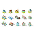 isometric buildings city urban infrastructure vector image vector image