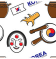 korean symbols and culture seamless pattern vector image vector image