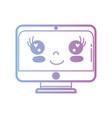 line kawaii cute happy screen monitor vector image vector image