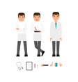 male doctor front view portrait creation set vector image vector image