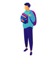 male student with backpack holding books isometric vector image vector image