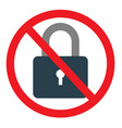 no lock sign on white background vector image vector image