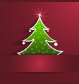 paper Christmas Tree with shadow on red background vector image