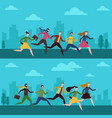 people hurry to work in morning vector image vector image