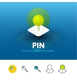 Pin icon in different style vector image vector image