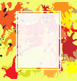 red orange maroon ink splashes ellipse frame vector image vector image