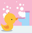 rubber duck toy and toilet bubbles bathroom vector image vector image